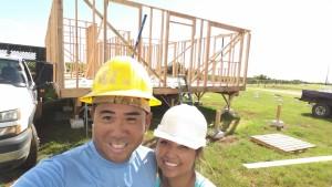 Joe and Sharolyn Moises at wall raising of their home