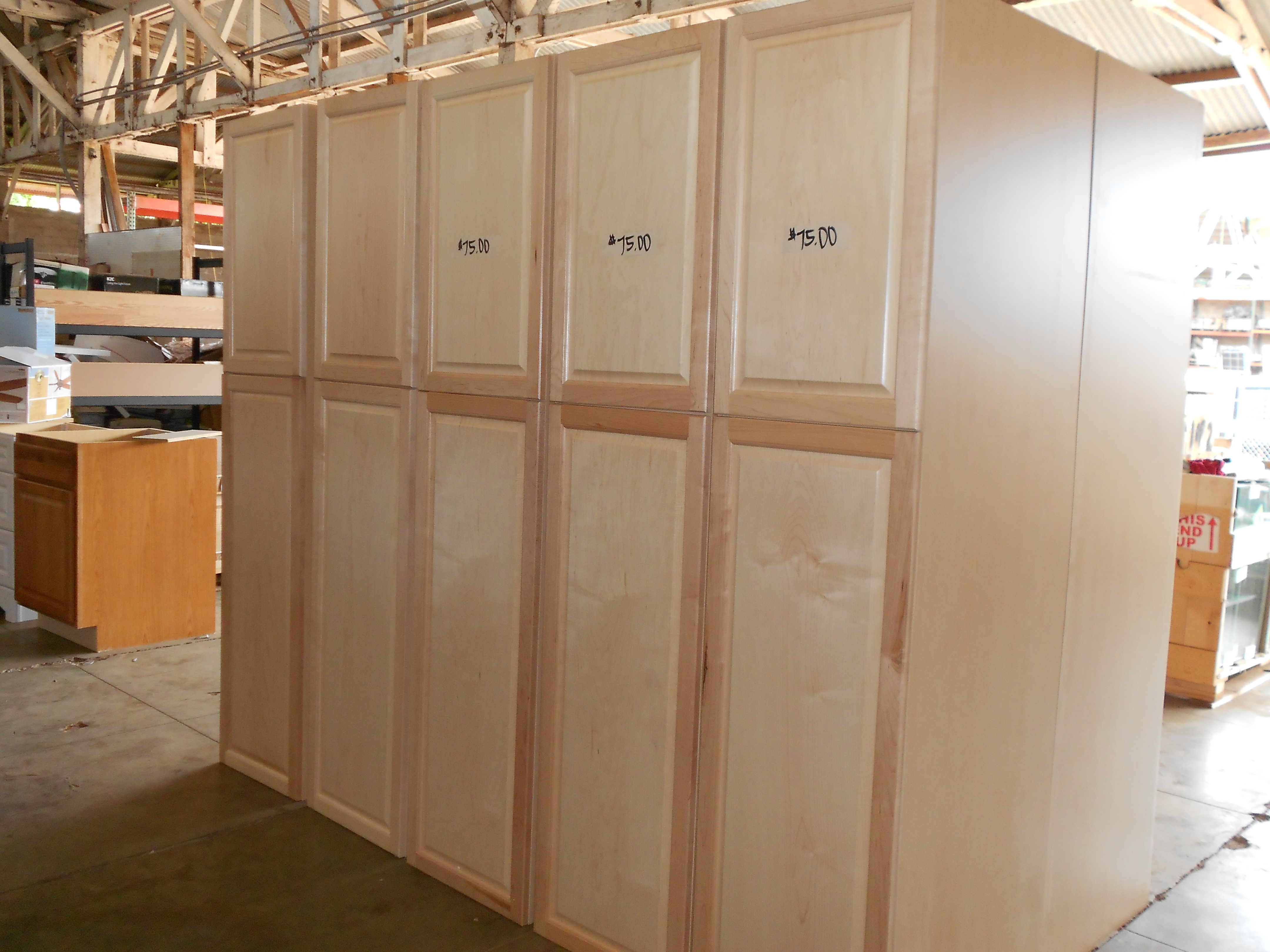 stop by restore today to check out the latest in stock cabinets