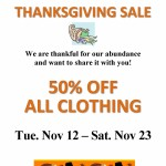 2013 Thanksgiving clothing sale
