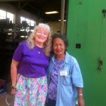 Volunteers Mary Williams and Lourdes