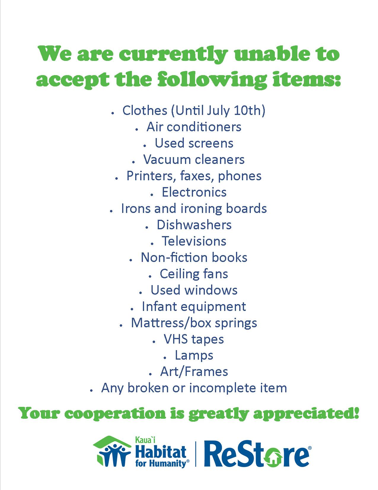 We are unable to accept the following items 063015